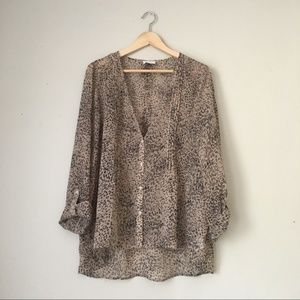 Urban Outfitters Pins&Needles Leopard Chiffon Top